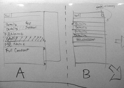 2-3 ideas were sketched for each area