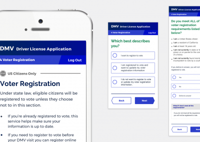 """Final content in voter registration screens reflecting <a href=""""https://www.dmv.ca.gov/portal/dmv/detail/dl/motorvoter"""">AB1461's """"Opt Out"""" language & process requirements</a>"""